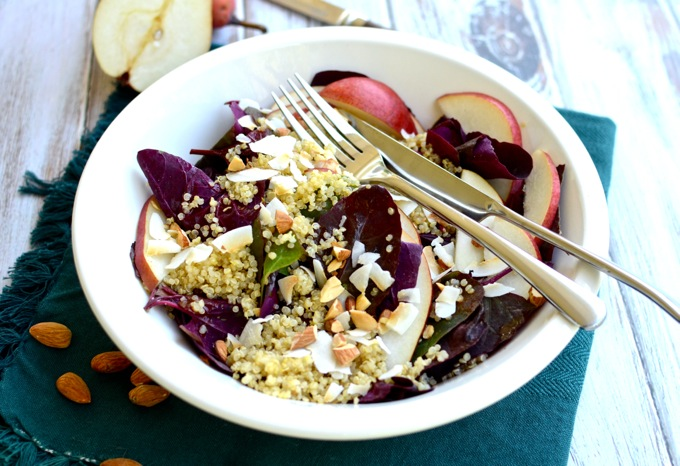 Breakfast Salad with quinoa, almonds, pears, and coconut in a cinnamon-cider dressing   www.theeverykitchen.com
