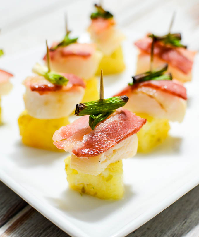 Bacon, Scallop, and Pineapple Bites | theeverykitchen.com