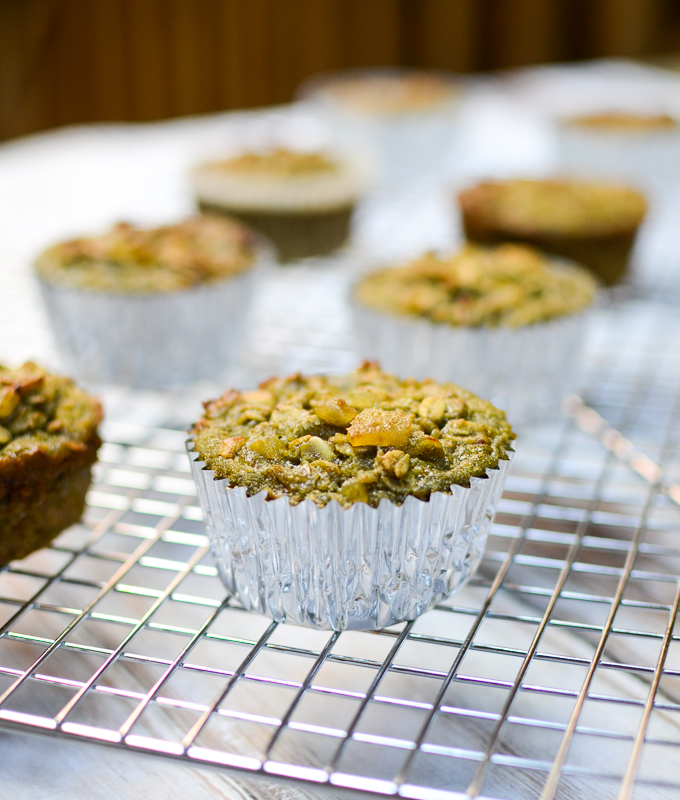 Matcha Ginger Oat Muffins | www.theeverykitchen.com