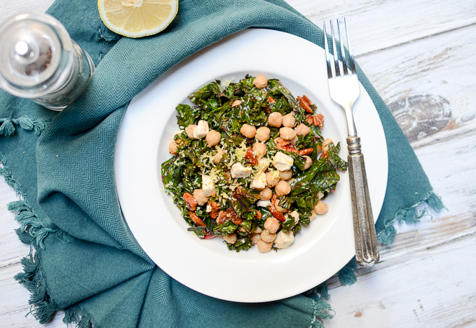 Superfood Kale Salad with Chickpeas, Pecans, and Feta | www.theeverykitchen.com