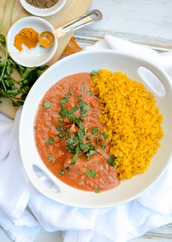 Healthier Chicken Tikka Masala with Turmeric Cauliflower Rice | www.theeverykitchen.com