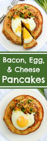 Bacon, Egg, and Cheese Pancakes - The ultimate sweet + savory brunch recipe. | www.theeverykitchen.com