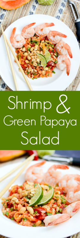 Shrimp and Green Papaya Salad - an addicting recipe... thank goodness it's healthy! | theeverykitchen.com