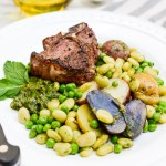 Skillet Lamb with Mango-Mint Chimichurri and Spring Peas