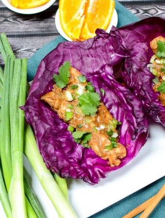 Orange Almond Chicken Lettuce Wraps are all at once sweet, salty, spicy... gluten free, and paleo! This weeknight recipe can be on the table in 20 minutes. | theeverykitchen.com