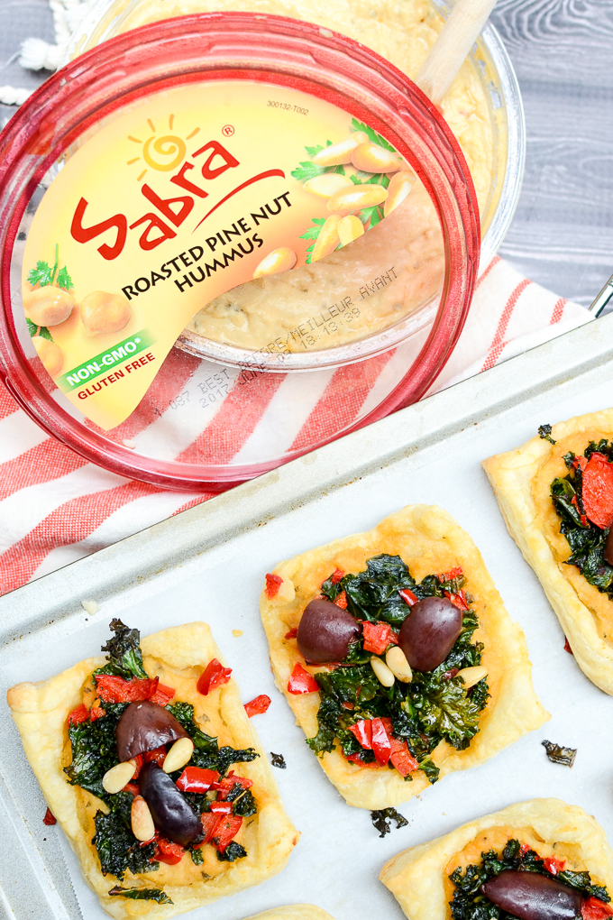 Pine Nut Hummus Mediterranean Pastry Squares are your next party appetizer. So full of flavor, your guests will never guess they're vegan and sugar free! #sponsored | theeverykitchen.com