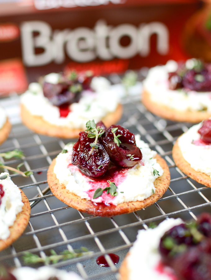 Roasted Cherry, Whipped Goat Cheese, & Thyme Hors d'Oeuvres are a can't-stop combo of juicy cherries, tangy goat cheese, and earthy thyme, atop a crispy cracker.   theeverykitchen.com