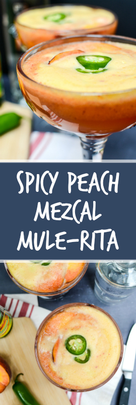 Spicy Peach Mezcal Mule-Ritas are frothy and sweet with fresh summer peaches. Mezcal adds smoke and jalapeños add zing. Best part? Ready in five minutes! | theeverykitchen.com
