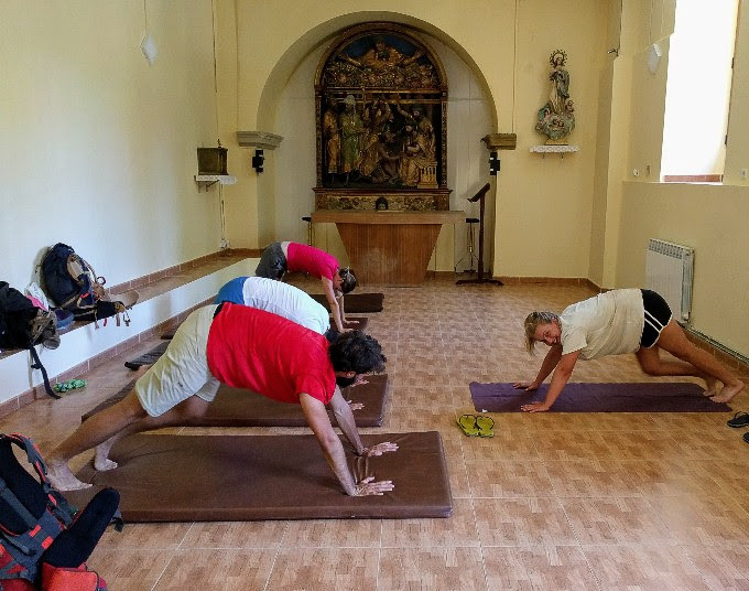 Camino Yoga in a donativo albergue in Grañon. We slept in the chapel of a bell tower! | theeverykitchen.com