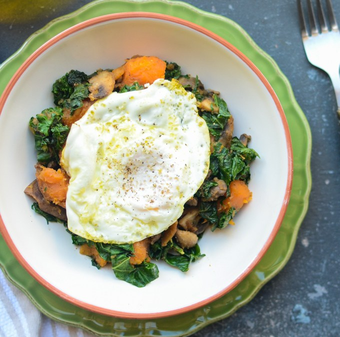 Make breakfast healthier, tastier, and more satisfying with simple swaps. Sweet Potato, Kale, Mushroom Hash features cholesterol-free corn oil. #ChooseMazola | theeverykitchen.com