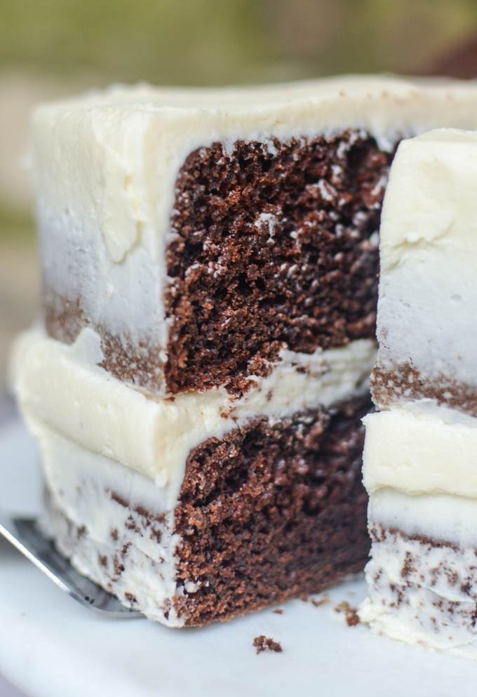 The secret to my recipe for Guinness Chocolate Cake with Bailey's Buttercream is to reduce the stout first to give you a deeply malted and moist crumb. The frosting adds just enough excitement without stealing the show and the end result is a cake you can't resist eating... even for breakfast! | theeverykitchen.com