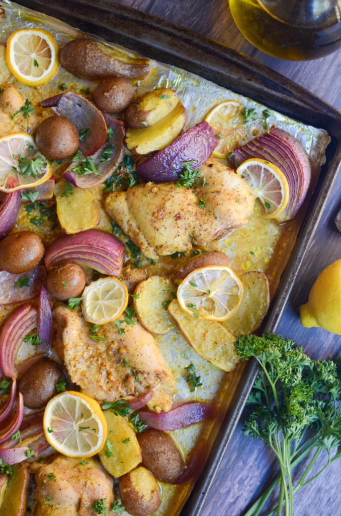 Sheet Pan Chicken Thighs with Lemon Potatoes is a quintessential The Every Kitchen recipe. It's approachable and easy, requires minimal prep and minimal cleanup, and can be made in every kitchen. | theeverykitchen.com