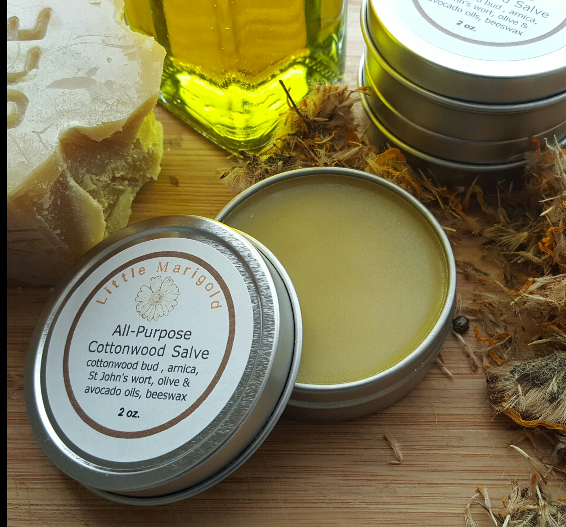 tin of cottonwood bud salve