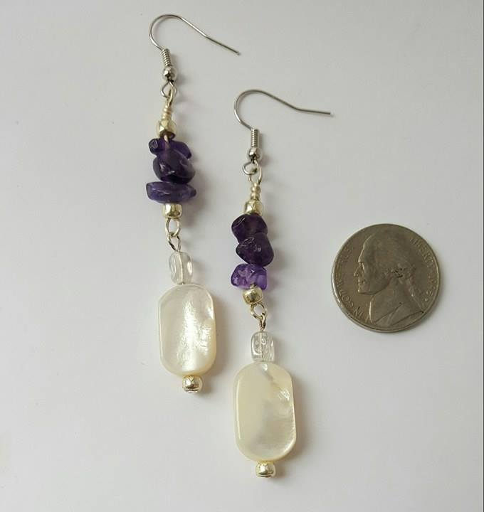 Earrings Amethyst Mother-of-Pearl