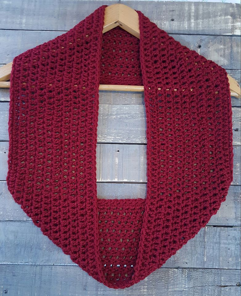 Hand Crocheted Cowl Scarf wine