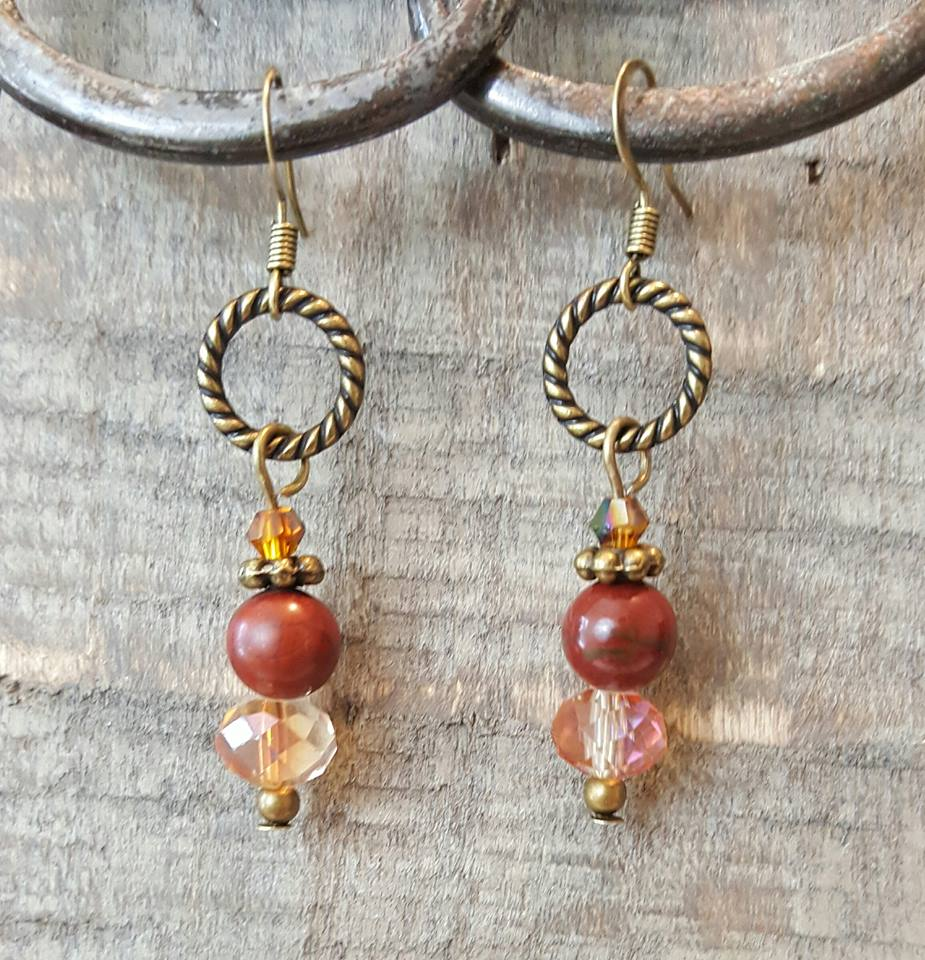 Jasper Crystal Earrings-brick red