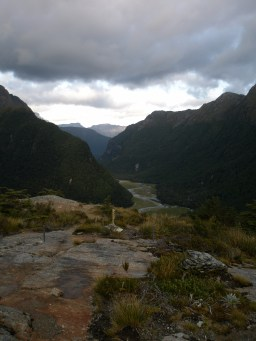 Looking down onto Routeburn Flats