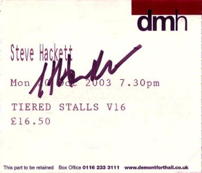 Signed Ticket for Leicester Show (Scanned by Evil Jam)