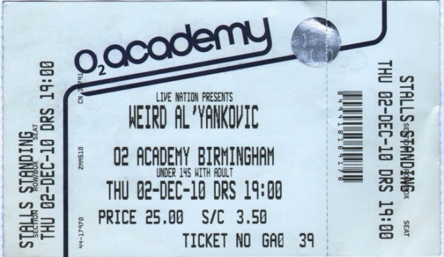 Weird Al ticket copy