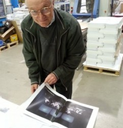 Robert at the printers, checking over the pages (c/o Robert Ellis)