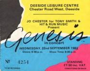 Deeside Leisure Centre 22nd September 1982 ticket