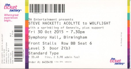 Steve Hackett BIRMINGHAM 30th Oct 2015 ticket MK