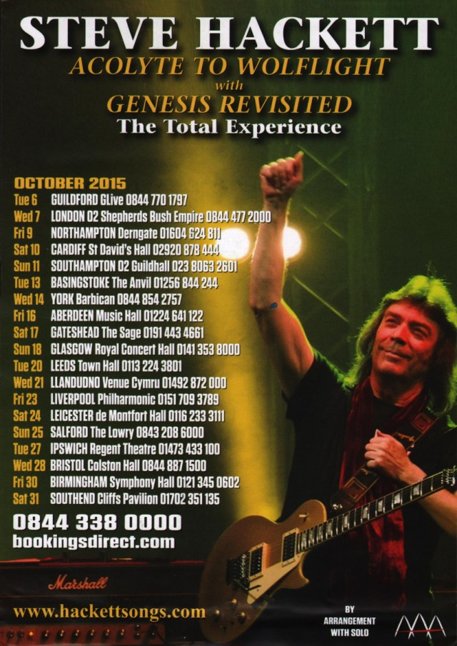 Steve hackett acolyte to wolflight tour report 2015 the evil jam m4hsunfo