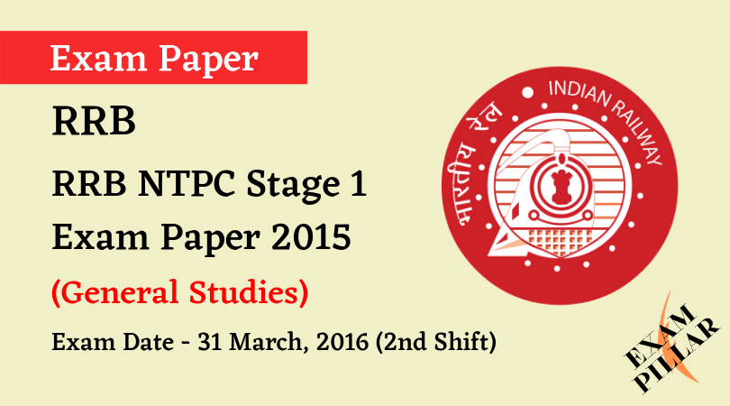 RRB NTPC Stage 1Exam Paper -