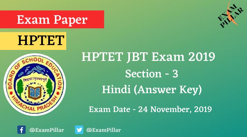 HPTET JBT Exam Paper 2019 (Answer Key)