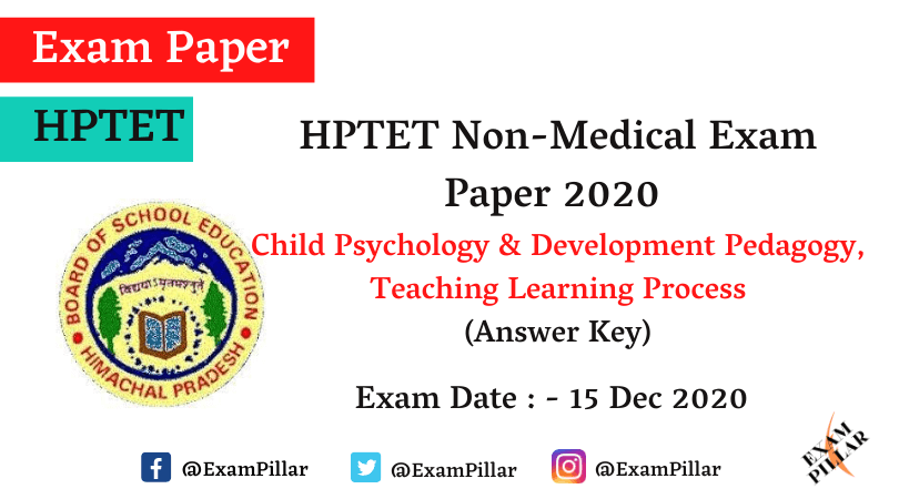 HP TET Non Medical Exam - 15 Dec 2020 (CDP) Answer Key