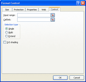 Excel form controls