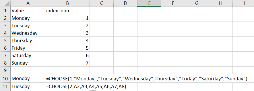 choose in excel
