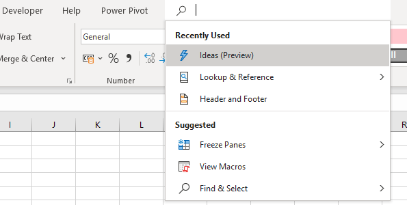 natural language search in excel
