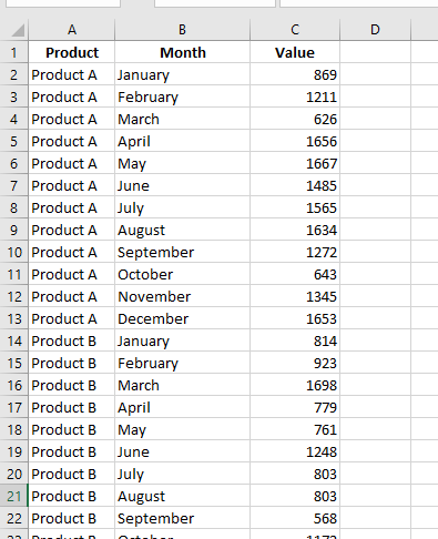 tabular data in excel