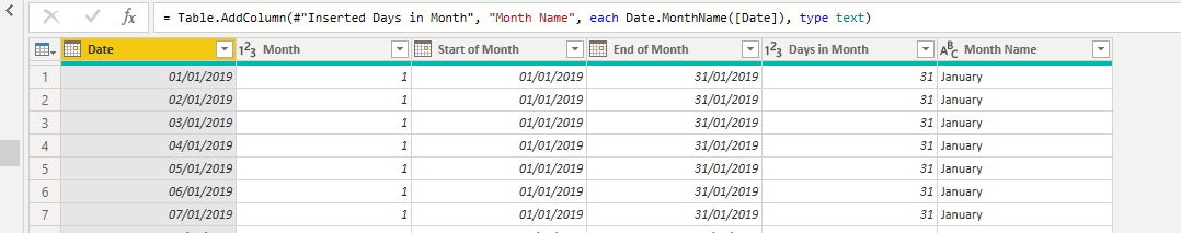 date tables in power pivot