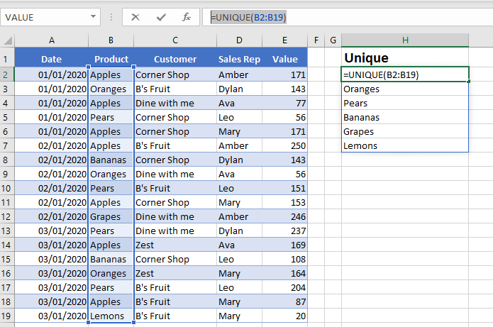 unique in excel