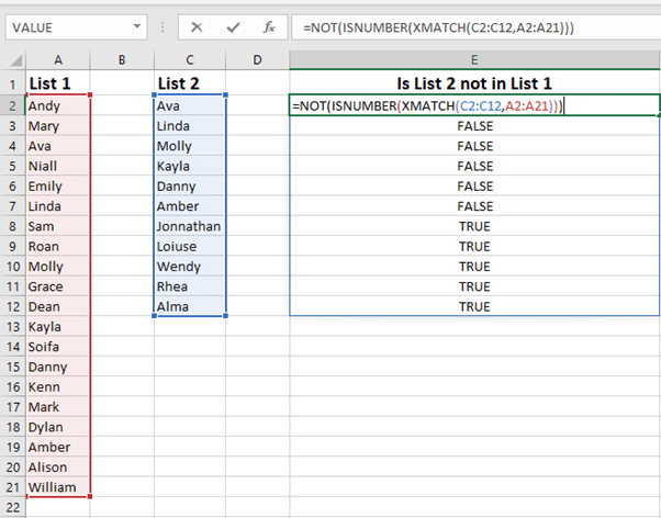 compare two lists or data sets in Excel
