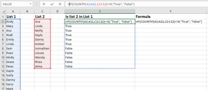 compare two list, two columns or two datasets in excel
