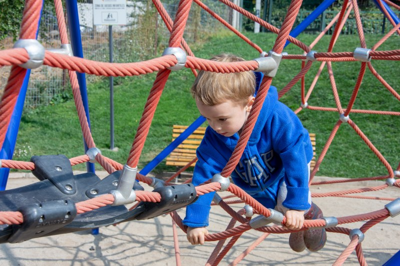 Climbing frame at the pump track