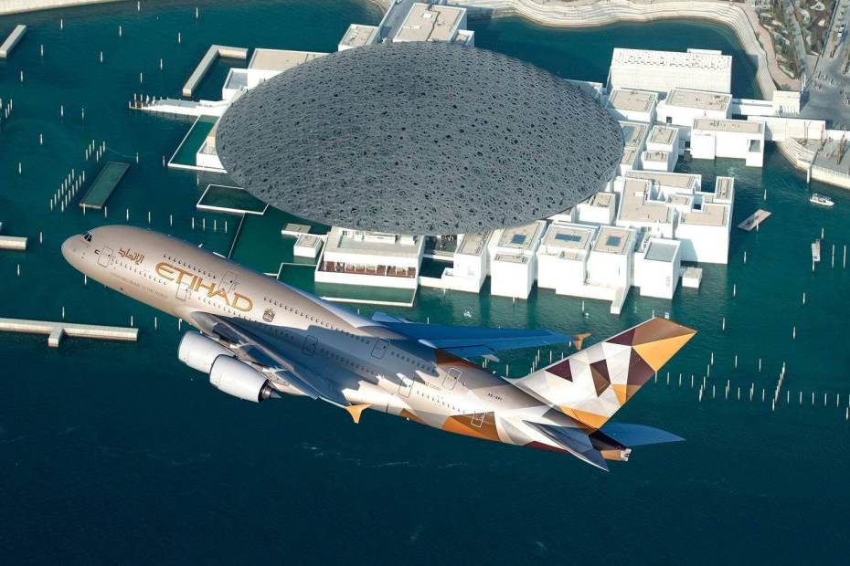Etihad Airways A380 over Louvre Abu Dhab