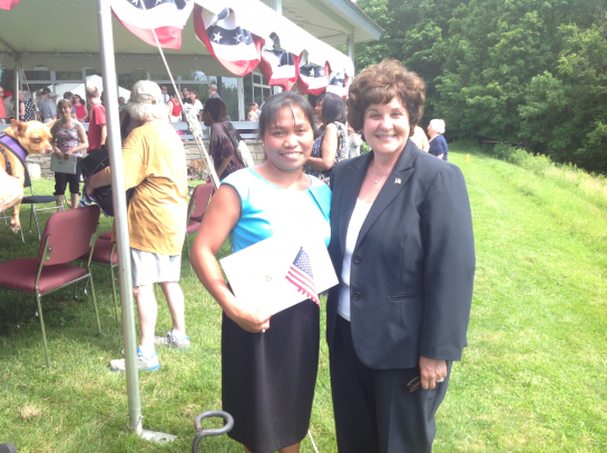 Sen Marchione at citizenship ceremony II, July 4, 2013