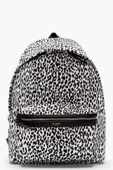 Saint Laurent- White and Black Leopard Print Backpack