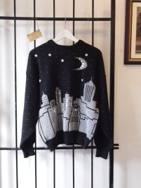 eof- suddenly seeking sweater girls- black and silver sequin graphic metallic city scape sweater