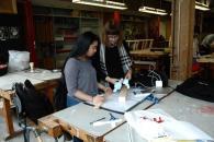 Lorella Di Cintio helping first-year student Lori Fernandez with final utensil project. PHOTO: KAROUN CHAHINIAN