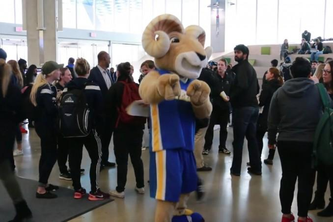 The Rams mascot at a rally. FILE PHOTO