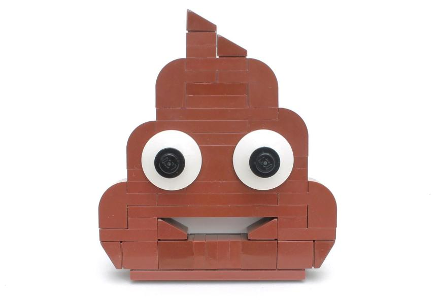 A smiling poop emoji made of Lego