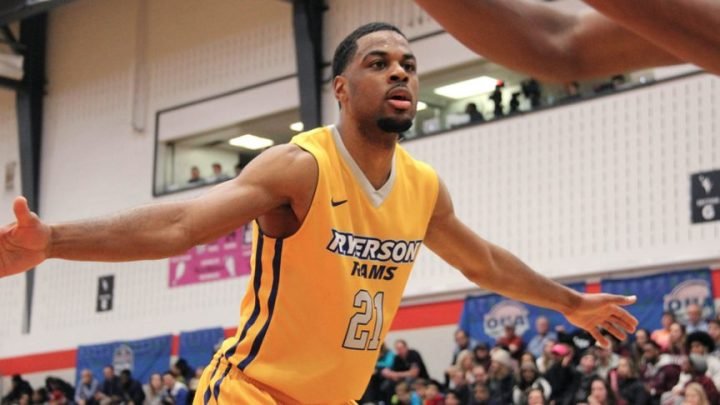 A Ryerson Rams player during the game against Ottawa, which Ryerson managed to win 76-75.