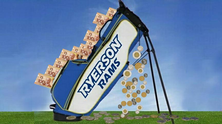 Ryerson's golf club is in a deficit. PHOTO: RYERSON GOLF CLUB/TWITTER, ILLUSTRATION: SARAH KRICHEL
