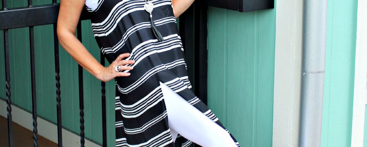 monochromatic shirt dress with white leggings.fashion over 40