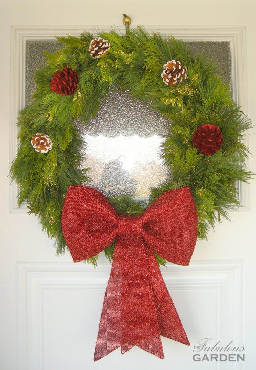 wreath with big red bow